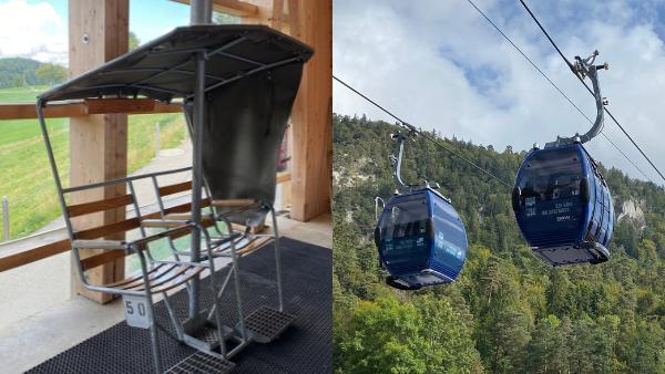 Links ist der alte Sessel im Vergleich rechts die neue blaue Gondel.
